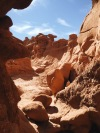 Hiking to caves in Goblin Valley