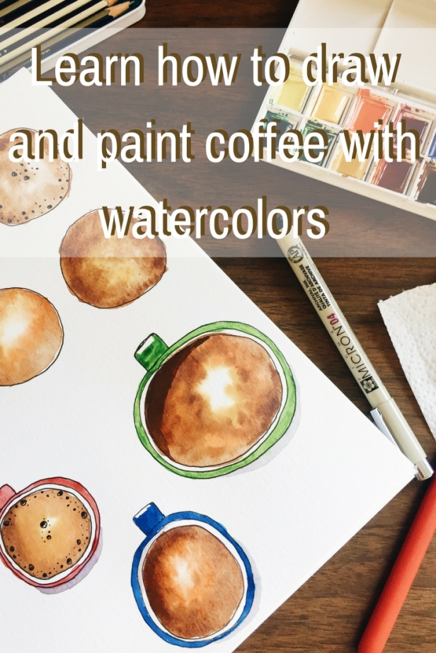 Learn how to draw and paint coffee with watercolors